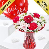 Red Love Vase with a Fun Helium I Love Balloon Code: JGFV400VHB  | Local Delivery Or Collect From Shop Only