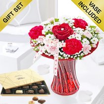 Red Love Vase with Luxury Chocolates Code: JGFV65340C | Local Delivery Or Collect From Shop Only