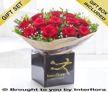 Dramatic Dozen Roses with a delicious bottle of bubbly Champagne Code: V40031RS-C