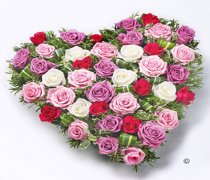 Lilac, Cerise, White and Pink Mixed Rose Heart  Code: F13181PS  | National and Local Delivery