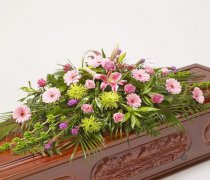 Classic Selection Pink and Green Casket Spray Code: JGFF8748506CS | Local Delivery Or Collect From Shop Only