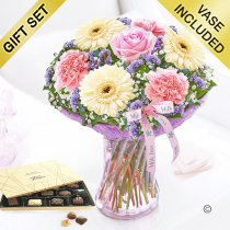 Mother's Day With Love Vase with a box of Belgian Chocolates Code: JGFM48020MC-C  | Local Delivery Or Collect From Shop Only