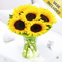Sunflower Sunburst Vase Code: JGFSU54879SS  | Local Delivery Only