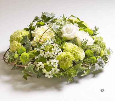 Woodland Green and White Posy Code: JGFF7140WGP | Local Delivery Or Collect From Shop Only
