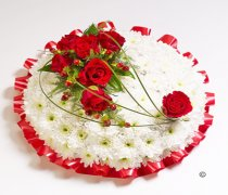 Traditional White Massed Posy Red and White Code: JGFF2890RWP | Local Delivery Or Collect From Shop Only