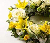 Rose and Lily Yellow and White Wreath Code: JGFF15030YW | Local Delivery Or Collect From Shop Only