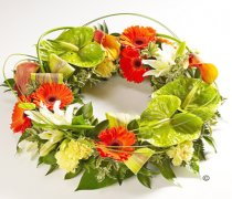 Orange, Green and Cream Exotic Wreath Code: JGFF8610  | Local Delivery Or Collect From Shop Only
