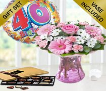 40th Birthday Pink Perfect Gift with a Fun Happy 40th Birthday Day Balloon and Mouth-Watering Chocolates Code: JGF188035BC