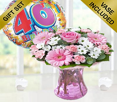 40th Birthday Pink Perfect Gift with a Fun Happy 40th Birthday Day