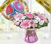 40th Birthday Pink Perfect Gift with a Fun Happy 40th Birthday Day Balloon Code: JGF188034B