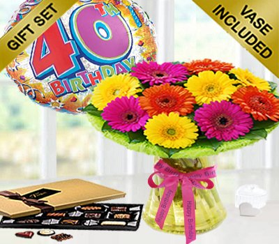 40th Birthday Germini Perfect Gift With A Fun Happy Day Balloon And Mouth Watering Chocolates Code JGFB4015GCB0
