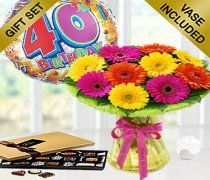 40th Birthday Germini Perfect Gift Vase Arrangement with a Fun Happy 40th Birthday Day Balloon and Mouth-Watering Chocolates Code: JGF8015GCB0