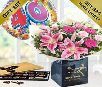 40th Birthday Pink Radiance Hand-tied with a Fun Happy 40th Birthday Day Balloon and Mouth-Watering Chocolates Code: JGF1011240CB