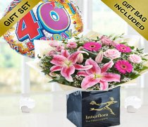 40th Birthday Pink Radiance Hand-tied with a Fun Helium 40th Birthday Balloon Code: JGF101340PRB