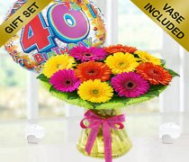 40th Birthday Germini Perfect Gift with a Fun Happy 40th Birthday Day Balloon Code: JGF11033PGB | Local Delivery Only