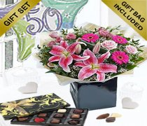 50th Birthday Pink Radiance Hand-tied with a Fun Happy 50th Birthday Day Balloon and Mouth-Watering Chocolates Code: JGF10737WC