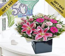 50th Birthday Pink Radiance Hand-tied with a Fun Happy 50th Birthday Day Balloon Code: JGF101750B