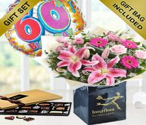 60th Birthday Pink Radiance Hand-tied with a Fun Happy 60th Birthday Day Balloon and Mouth-Watering Chocolates Code: JGF10121CB