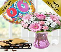 60th Birthday Pink Perfect Gift with a Fun Happy 60th Birthday Day Balloon and Mouth-Watering Chocolates Code: JGF102260CB