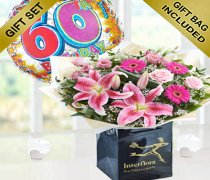 60th Birthday Pink Radiance Hand-tied with Balloon Code: JGF1041WB