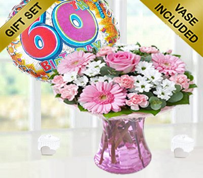 60th Birthday Pink Perfect Gift With A Fun Happy Day Balloon Code JGF102060HB