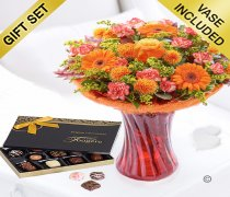 Autumn Burst Vase with a box of Luxury Chocolates Code: JGFA30214AVC | Local Delivery Or Collect From Shop Only