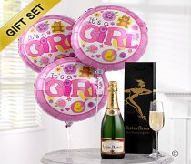 Celebratory Champagne with New Baby Girl Balloons Code: B10090ZS
