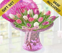 Mothers Day Lavender Tulip Vase with a fun Helium filled Mother's Day Balloon Code: JGFM30181MB ( Local Delivery Only )