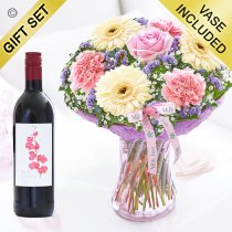 Mother's Day Flower Perfect Gift with a Bottle of Merlot Red Wine Code: JGFMD50021MS-RW ( Local Delivery Or Collection Only )