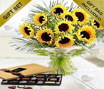 Luxury Sunflower Hand-tied with hand made Chocolates Code: JGF20662SFC