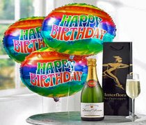 Happy Birthday Balloons with a delicious bubbly Champagne Code: A2044HB