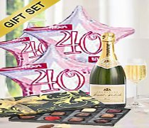 40th Birthday Balloons with a delicious bubbly Champagne and luxury hand-made chocolates Code: A32040HBC